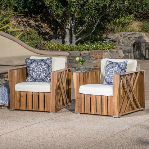 Cadence Outdoor Acacia Wood Club Chair with Cushion (Set of 2) by Christopher Knight Home