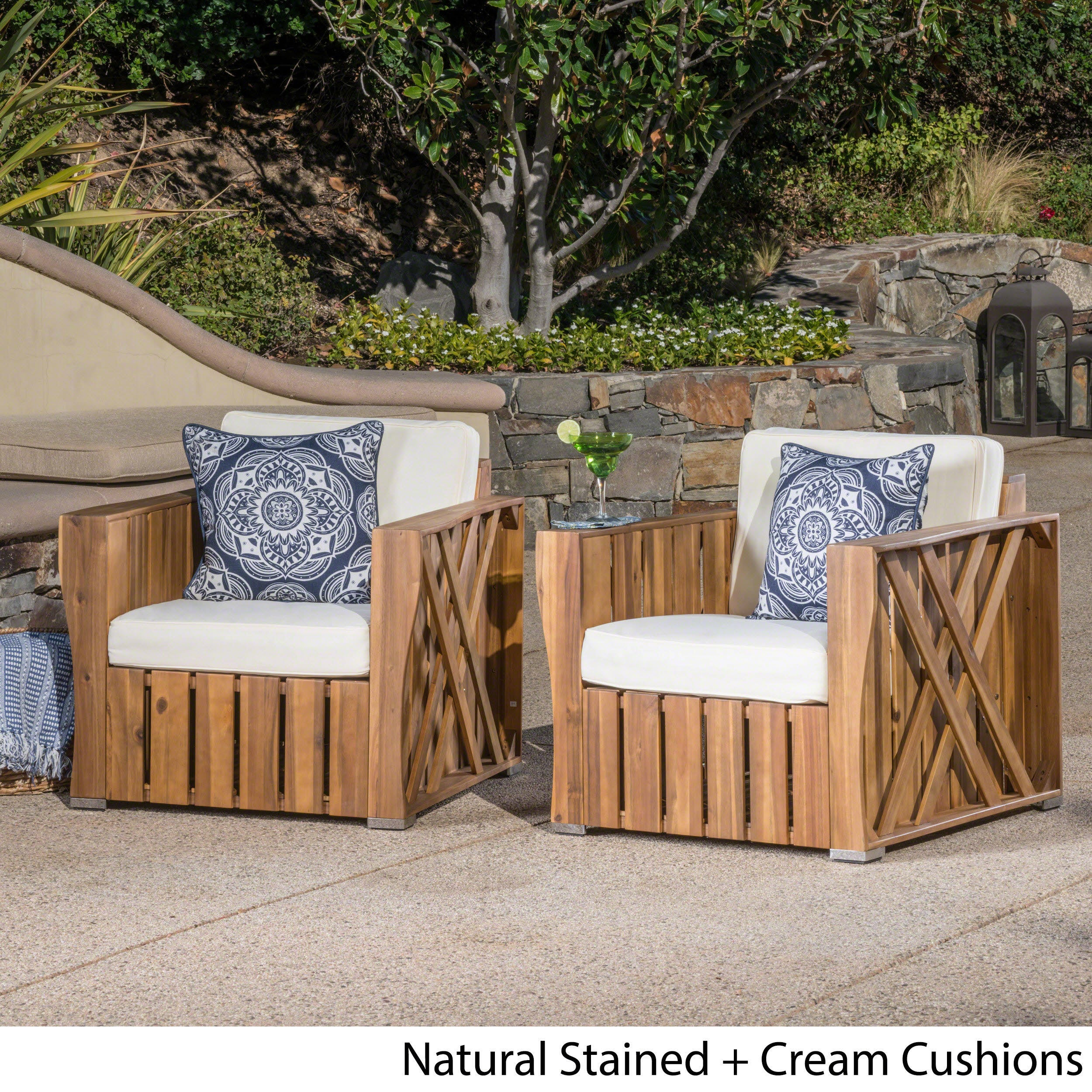 Prime Cadence Outdoor Acacia Wood Club Chair With Cushion Set Of 2 By Christopher Knight Home Lamtechconsult Wood Chair Design Ideas Lamtechconsultcom