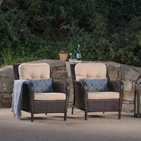 Savona Outdoor Wicker Club Chair with Cushions (Set of 2) by Christopher Knight Home