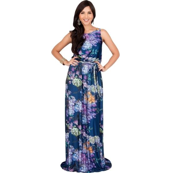 KOH KOH Womens Sleeveless Casual Sundress Floral Print Maxi Dress
