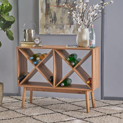 "Birny Mid-Century Modern Wood Wine Shelf Cabinet by Christopher Knight Home - 40.00"" L x 11.75"" W x 32.00"" H"