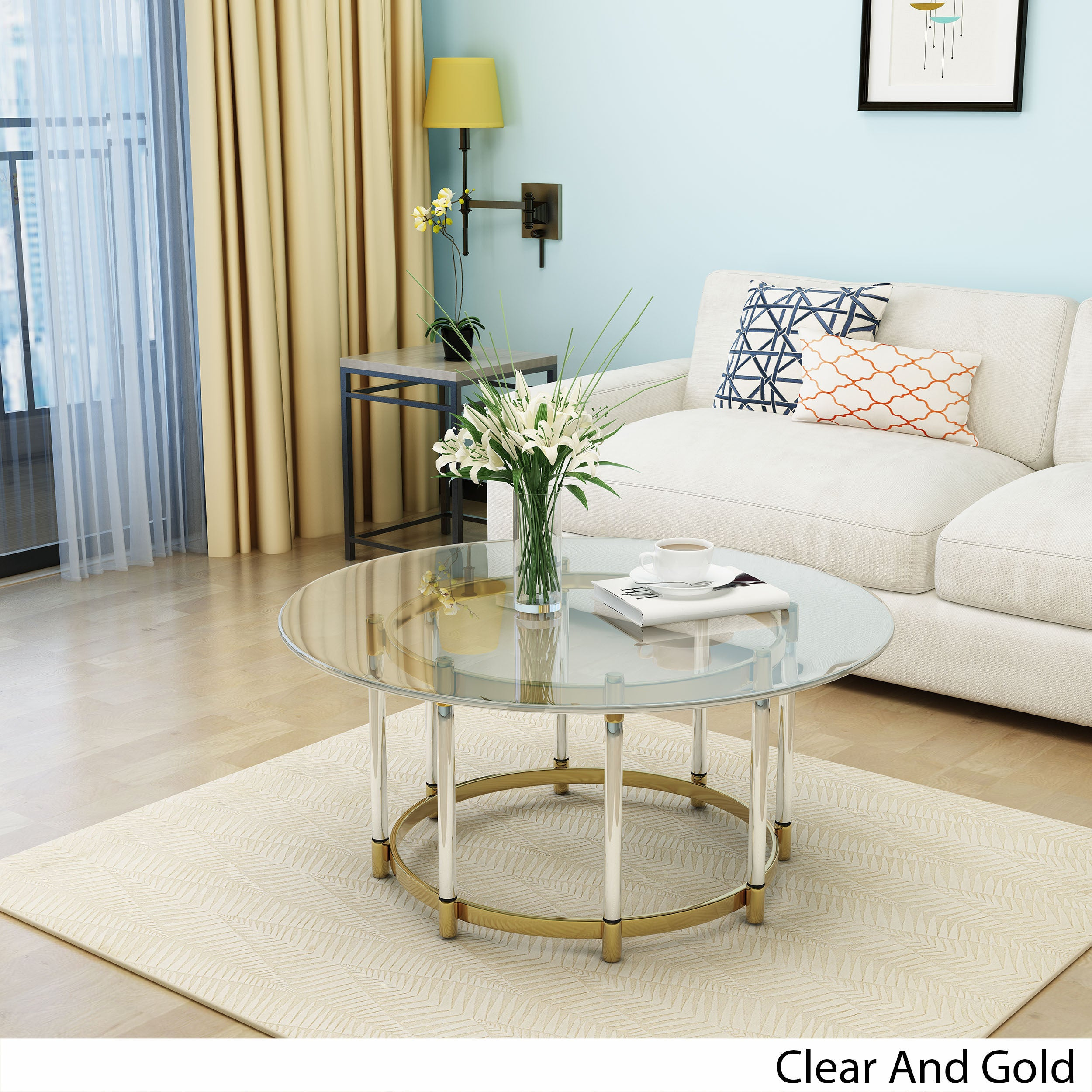 Shop Cosimo Modern Glass Round Coffee Table By Christopher Knight