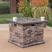 Stonewall Outdoor Propane Square Fire Pit with Lava Rocks by Christopher Knight Home