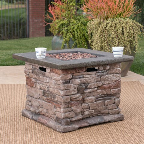 Stonewall Square Propane Fire Pit by Christopher Knight Home