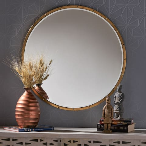 Eadie Glam Circular Wall Mirror by Christopher Knight Home - Gold