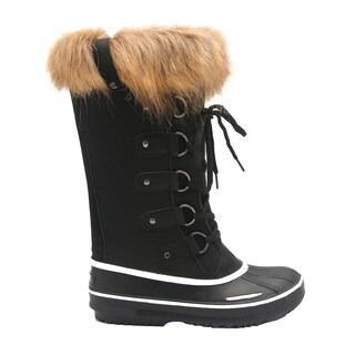 Mata Shoes Women's Lace Up Pull Loop Mid Calf Winter Snow Duck Boots
