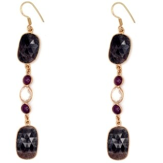 Orchid Jewelry Gold Overlay 67.75 Carat Sapphire, Quartz & Ruby Sterling Silver Hook Earrings