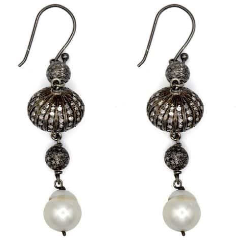 Diamond, Pearl Sterling Silver Dangle Earrings By Orchid Jewelry