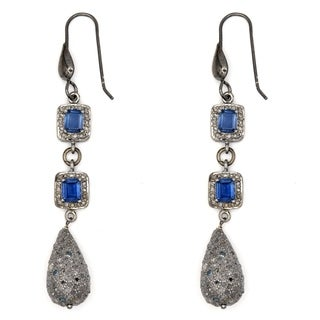 Orchid Jewelry 3.46 Carat Sapphire & Natural Diamond Sterling Silver Hook Earrings