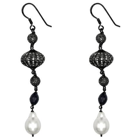 Diamond, Pearl, Sapphire Sterling Silver Dangle Earrings By Orchid Jewelry
