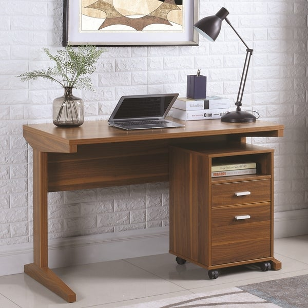 Mid Century Modern Design Home Office Desk With Mobile File Cabinet Free Shipping Today 19754975