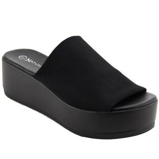 NATURE BREEZE EL85 Women's Stretchy Slip On Peep Toe Platform Sandals (More options available)