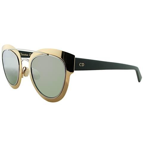 Dior Cat-Eye Chromic LML 9F Women Gold Palladium Blue Frame Gold Mirror Lens Sunglasses