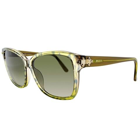 Emilio Pucci Rectangle EP 716S 250 Women Labirinth On Faded Khaki Frame Green Gradient Lens Sunglasses