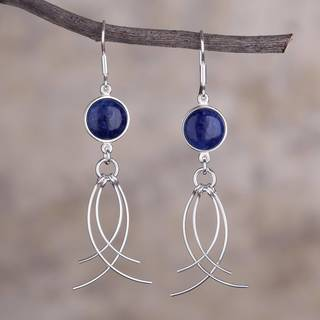 Handmade Sterling Silver 'Soft Breeze' Sodalite Earrings (Peru)