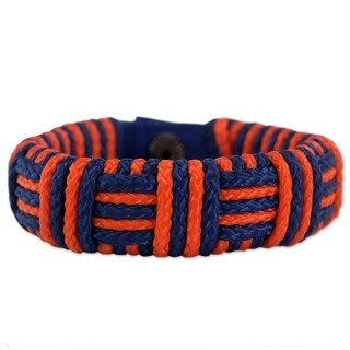 Handmade Polypropylene Cord 'Blue and Orange Kente Power' Bracelet (Ghana)