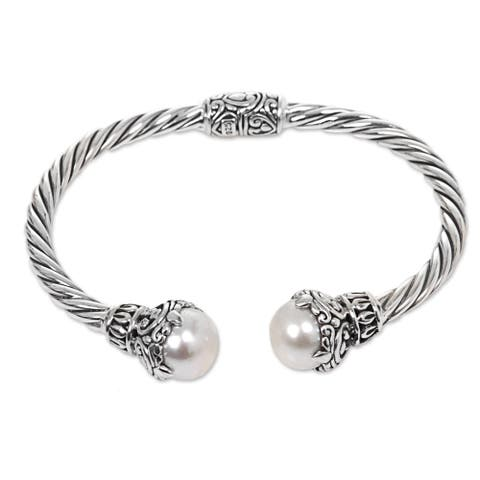 Handmade Sterling Silver Rope Cultured Pearl Bracelet (Indonesia)