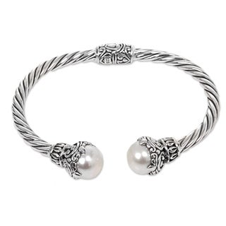 Handmade Sterling Silver 'Sterling Rope' Cultured Pearl Bracelet (10 mm) (Indonesia)