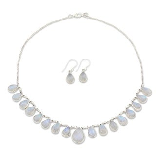 Handmade Sterling Silver 'Lovely Morning' Rainbow Moonstone Jewelry Set (India)
