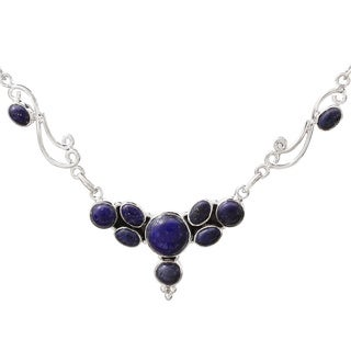 Handmade Sterling Silver 'Blue Grove' Lapis Lazuli Necklace (India)