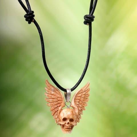 Handmade Leather Bone 'Flying Skull' Necklace (Indonesia)