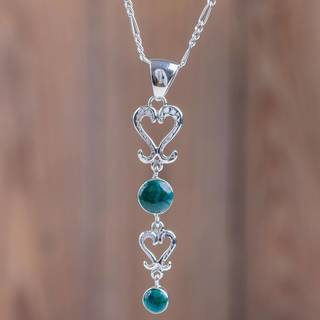 Handmade Sterling Silver 'Cuzco Heart' Chrysocolla Necklace (Peru)