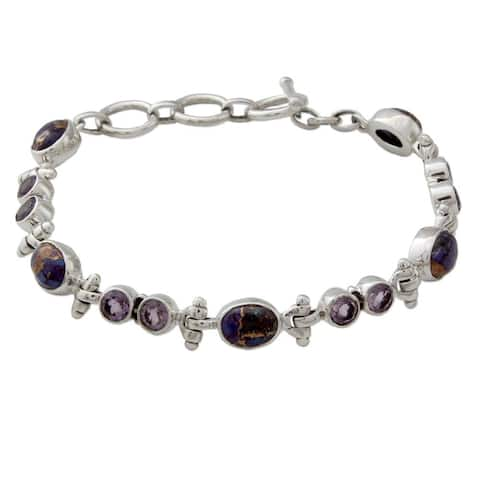 Handmade Sterling Silver 'Purple Song' Amethyst Turquoise Bracelet (India)