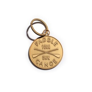 Paddle Your Own Canoe Matte Gold Key Chain