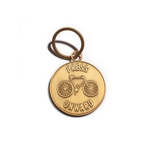 Press Onward Matte Gold Key Chain