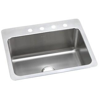 Elkay Lustertone 18 Gauge Stainless Steel Single Bowl Dual/Universal Mount Kitchen Sink DLSR2722101 Stainless Steel