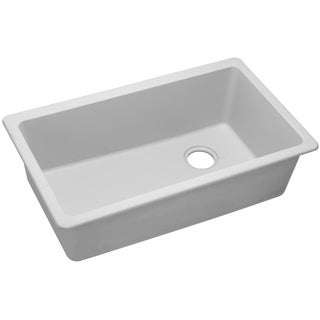"Elkay Quartz Classic 33"" x 18-3/4"" x 9-1/2"", Single Bowl Undermount Sink, White"