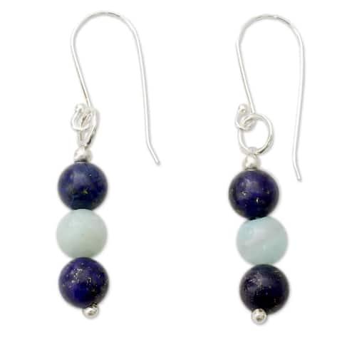 Handmade Sterling Silver 'Sweet Mysteries' Lapis Lazuli Amazonite Earrings (India)