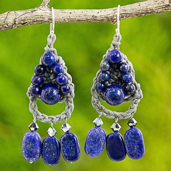 0f7ac00109d68 Shop Handmade Sterling Silver 'Blue Folk Lace' Lapis Lazuli Earrings ...