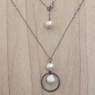 Handmade Sterling Silver 'Raindrop Halos' Cultured Pearl Moonstone Necklace (10 mm) (Indonesia)