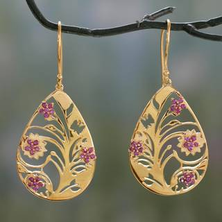 Handmade Gold Overlay 'Jali Tree of Life' Rhodolite Earrings (India)