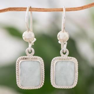 Handmade Sterling Silver 'Divine Light' Jade Earrings (Guatemala)