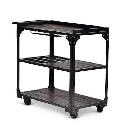 Greyson Living Springdale Black/Brown Iron/Basswood Serving Cart
