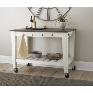 """Cottonvile Two Tone Kitchen Cart on Casters by Greyson Living - 50""""W x 28""""D x 36""""H"""