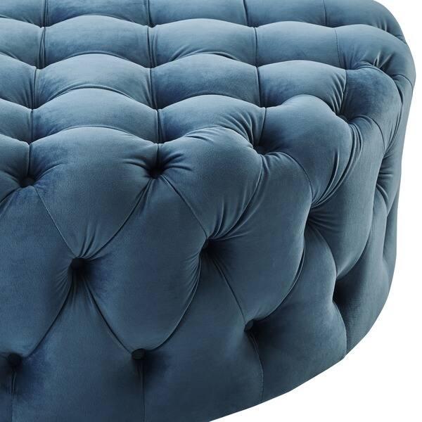 Terrific Shop Corvus Tufted Velvet Round Chesterfield Ottoman With Dailytribune Chair Design For Home Dailytribuneorg