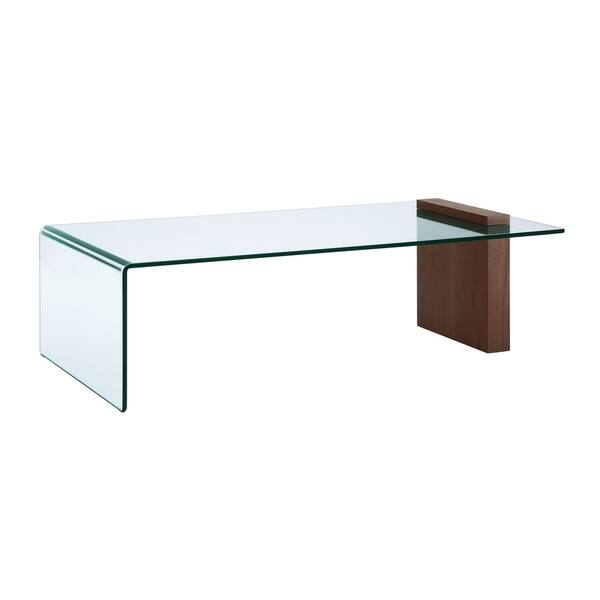 Buono Walnut Veneer W Bent Gl Coffee Table By Casabianca Home Clear
