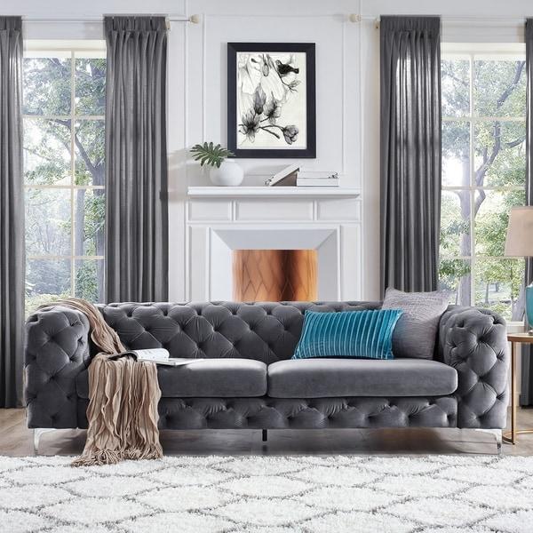 Shop Corvus Aosta Tufted Velvet Chesterfield Sofa - On Sale - Free ...