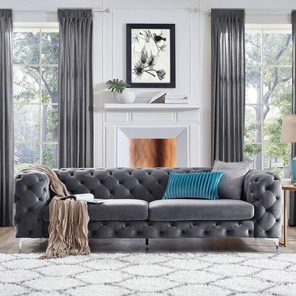 Shop Corvus Aosta Tufted Velvet Chesterfield Sofa - Free Shipping ...