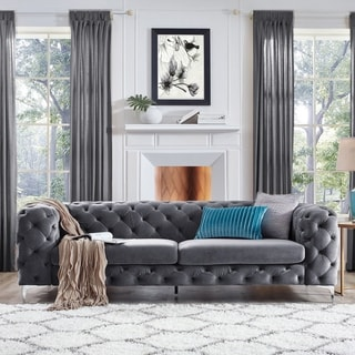 Corvus Aosta Tufted Velvet Chesterfield Sofa