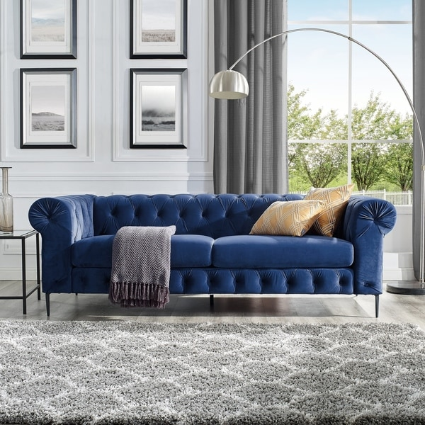 Shop Corvus Prato Velvet Chesterfield Sofa with Rolled Arms - On ...