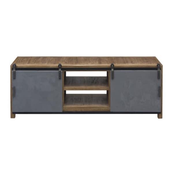 Ettenborough Grey Brown Metal Wood Media Cabinet