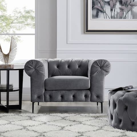 Corvus Prato Tufted Rolled Arm Sofa Chair
