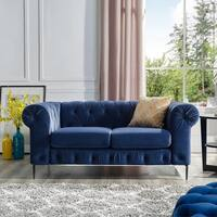 Corvus Prato Tufted Velvet Loveseat Sofa with Rolled Arms