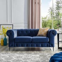 Corvus Prato Tufted Velvet Chesterfield Loveseat with Rolled Arms