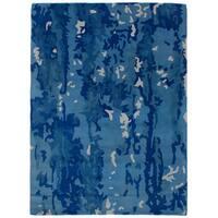 eCarpetGallery Hand-Tufted  Timeless Blue   Wool Rug (5'4 x 7'6)
