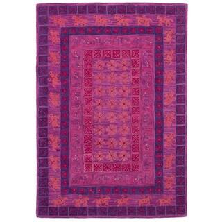 eCarpetGallery Hand-Tufted Timeless Purple Wool Rug (5'3 x 7'6)